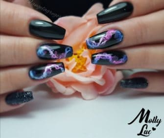 akwarela water ink na paznokciach hybrydowych