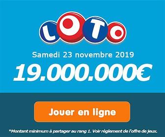 Jouer pour le tirage Loto de 18.000.000€ ce mercredi 20 novembre !