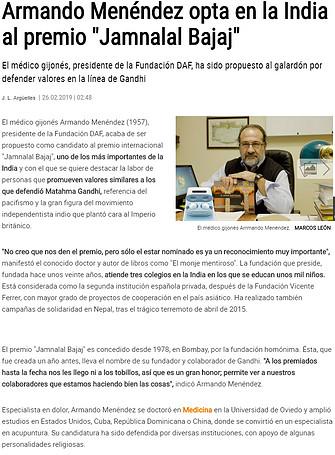 Nominación Armando Menéndez-premio Jamnalal Bajaj
