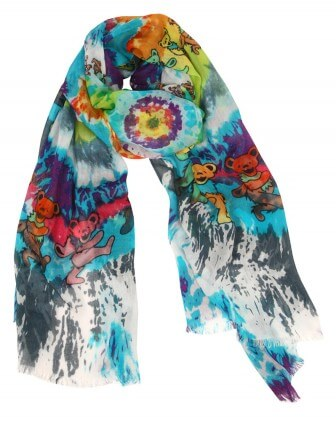 """The """"Dancing Bears"""" scarf is one of many Grateful Dead-themed designs from the Grateful Girls."""
