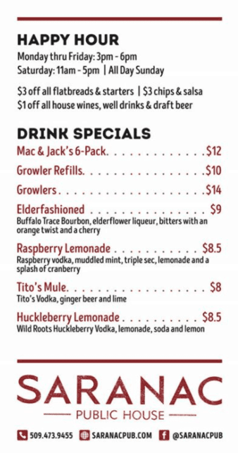Saranac Happy Hour and Pre-Made Drinks Options