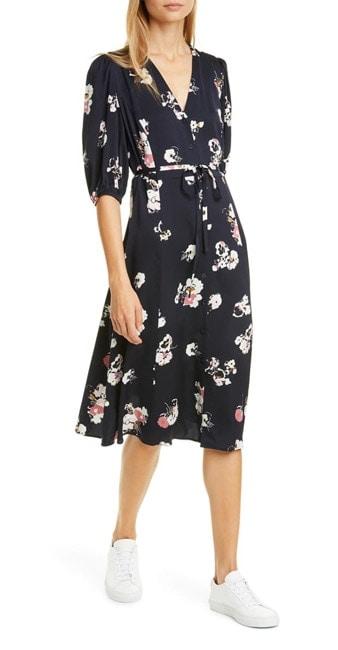 Silk midi dress with sleeves | 40plusstyle.com