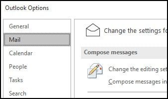 Outlook Mail options dialog.