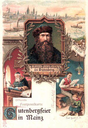 Lithographie Gutenbergfeier Mainz 1900