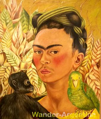 A close up of Frida Kahlo's Self-portrait with Monkey and Parrot