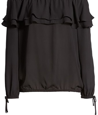 Michael Kors ruffle off the shoulder top | 40plusstyle.com