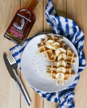 Sesame Tahini Waffles with Runamok Maple Syrup
