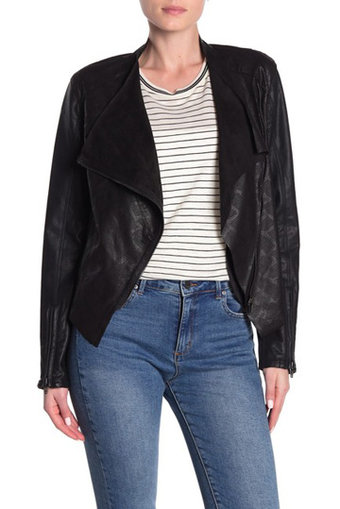 BLANKNYV drape front jacket | 40plusstyle.com