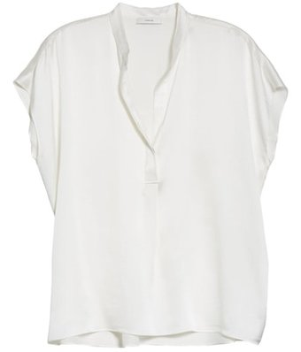 Vince shirred silk satin blouse | 40plusstyle.com