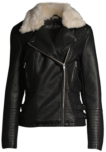 Mark Alan faux leather moto jacket with faux fur collar | 40plusstyle.com