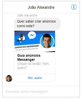 Preview de anuncio Messenger
