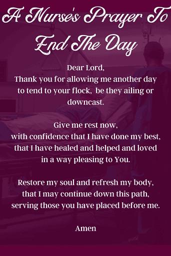 Nurse's Prayer to End Their Day
