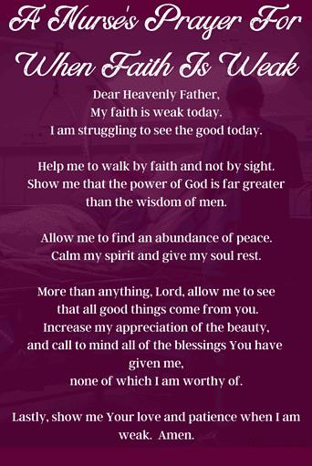 Nurse's Prayer for When faith Is Weak