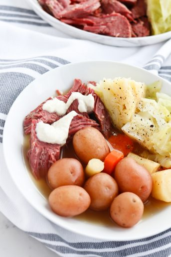 Instant Pot Pressure Cooker Corned Beef and Cabbage with vegetables