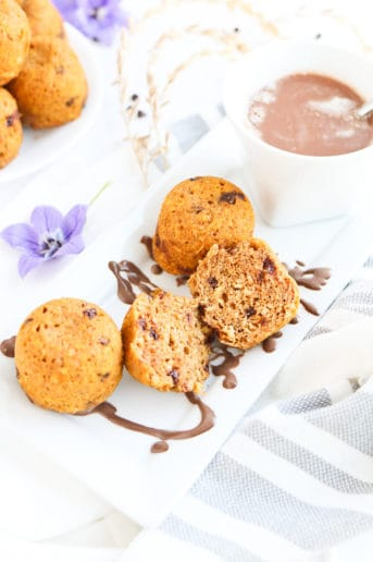 Oatmeal muffins on a white plate
