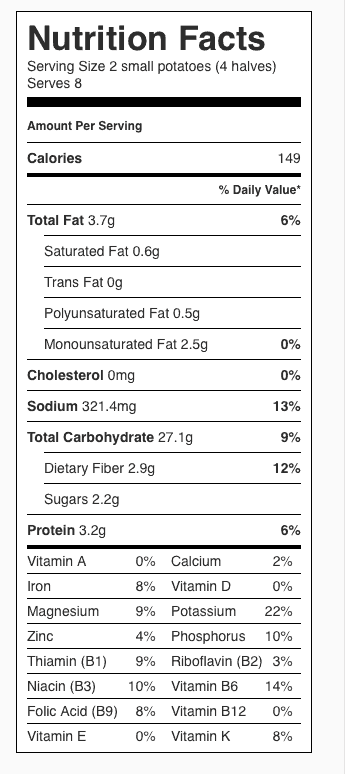 Oven Browned Potatoes Nutrition Label. Each serving is 2 small potatoes (or 4 halves).