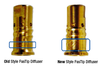 Image showing the difference between the old and new style FasTip diffusers