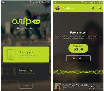 AmpMe - met de pincode kun je meewerken aan het streamen van muziek, door zelf te hosten krijg je een pincode.
