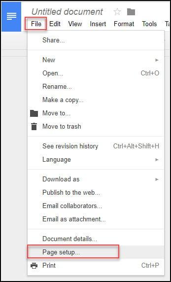 Google Docs page setup