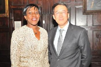 Hon. Jeanne Rogers-Vanterpool, Présidente, Office de Tourisme de Saint-Martin, l, at ICN 2014 with Larry Lee, President of China Daily USA. (Sharon Bennett/ICN image)