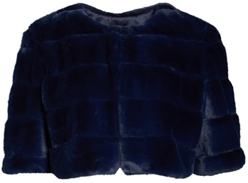 shrugs and boleros for evening dresses: Eliza J faux fur crop jacket | 40plusstyle.com