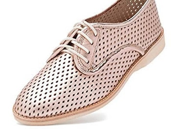 Rollie Women's Lightweight Derby Punch Perforated Lace-Up Flat Shoe | 40plusstyle.com