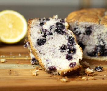 sliced blueberry cake