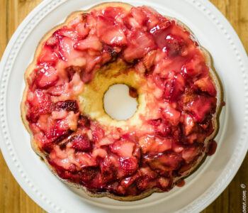 overhead shot of strawberry upside down cake