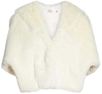 shrugs and boleros for evening dresses: Eliza J faux fur capelet | 40plusstyle.com