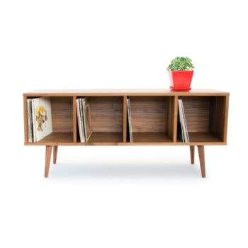walnut record credenza for vinyl storage