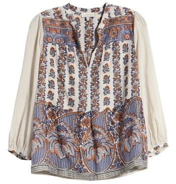 Lucky Brand peasant top | 40plusstyle.com