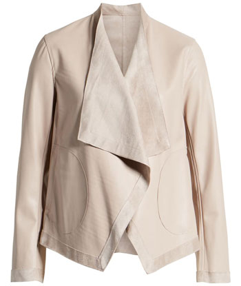 BB Dakota reversible faux leather drape front jacket | 40plusstyle.com