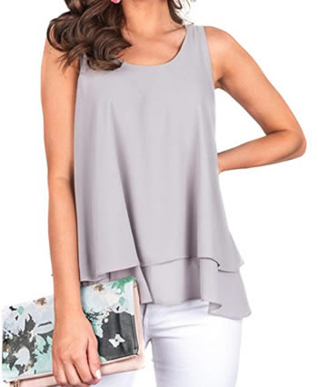 Floral Find Women's Chiffon Layered Tank Tops Summer Sleeveless Round Neck Blouses Shirts | 40plusstyle.com