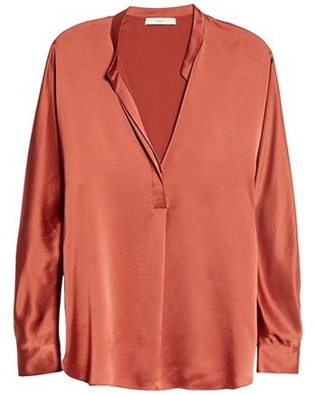 wardrobe essentials - Vince band collar silk blouse | 40plusstyle.com