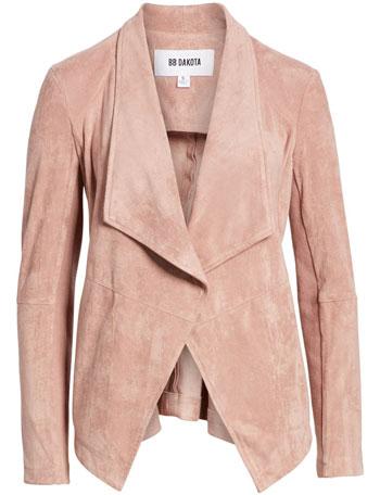 best leather jackets for women: BB Dakota drape front faux suede jacket   40plusstyle.com