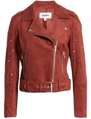 best leather jackets for women: BB Dakota faux suede moto jacket | 40plusstyle.com