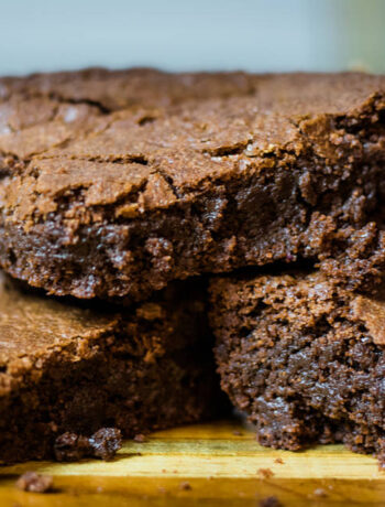 close up stack of 3 brownies