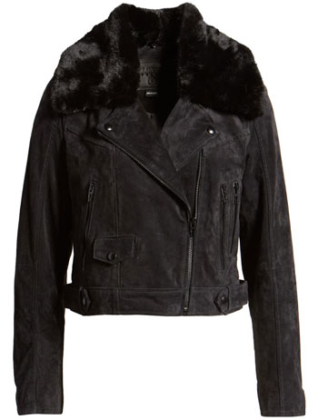 best leather jackets for women: Blank NYC removable faux fur collar suede moto jacket | 40plusstyle.com