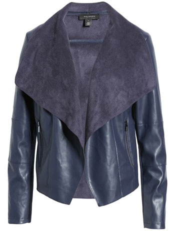 Halogen faux leather drape front jacket | 40plusstyle.com