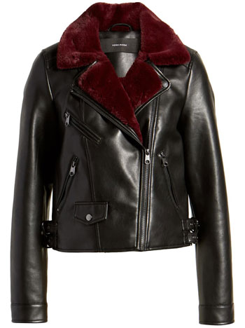 best leather jackets for women: Vero Moda faux leather moto jacket with faux fur trim | 40plusstyle.com