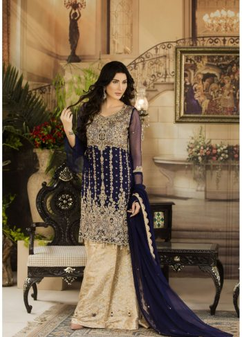 Buy Exclusive Navy Blue And Beige Dress – G15477 Online In USA, Uk & Pakistan - 04