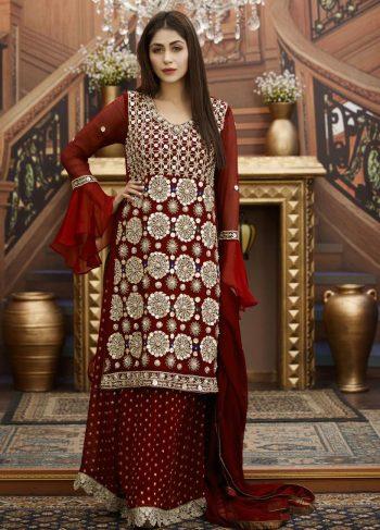 Buy Exclusive Maroon Bridal Wear – G15173 Online In USA, Uk & Pakistan