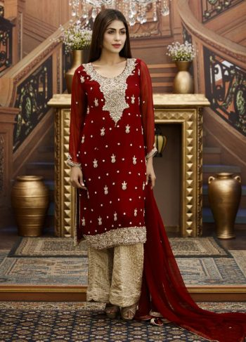 Buy Exclusive Maroon And Golden Bridal Wear – G16464 Online In USA, Uk & Pakistan