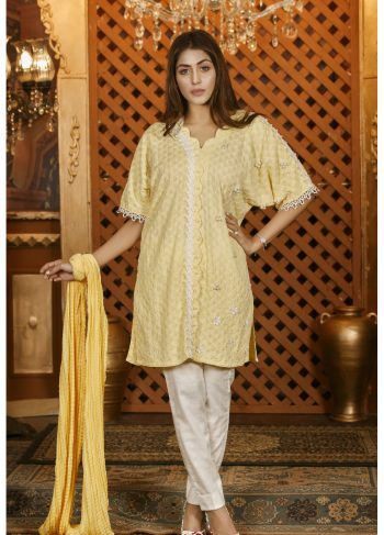 Buy Exclusive Lemon And White Casual Wear – Sac2282 Online In USA, Uk & Pakistan - 02