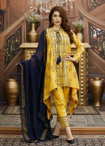 Buy Exclusive MUSAtard And Navy Blue Casual Wear – Sdc39 Online In USA, Uk & Pakistan - 03
