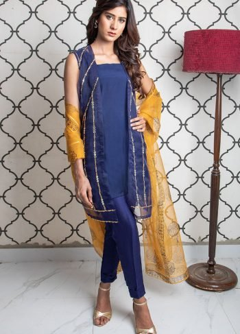 Buy Exclusive Blue & MUSAtard Party Wear – Sds393 Online In USA, Uk & Pakistan - 02