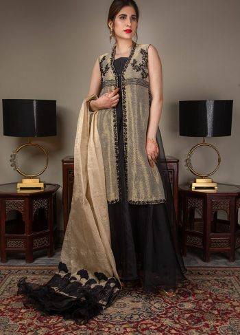 Buy Exclusive Gold And Black Luxury Pret – Sds489 Online In USA, Uk & Pakistan