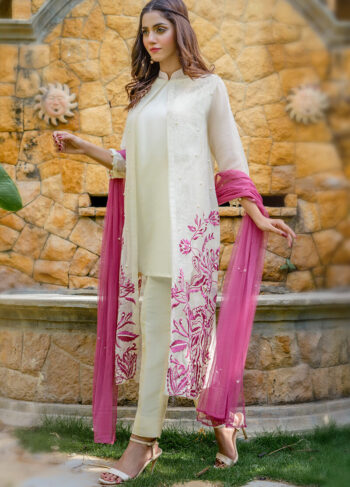 Buy Exclusive Off White And Pink Party Wear – Aqs224Online in UK, US & Pakistan - 02
