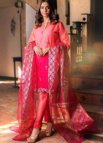 EXCLUSIVE LIGHT AND SHOCKING PINK LUXURY PRET - ZZS1026 (Unstitched)