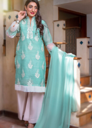 EXCLUSIVE AQUA GREEN AND OFF WHITE LUXURY PRET - ZZS1043 (Unstitched)